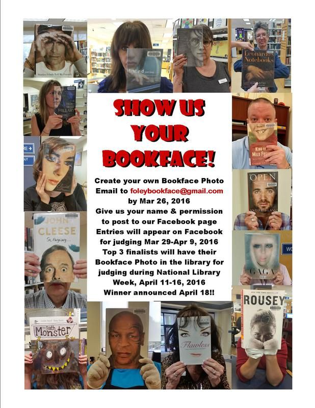Foley Public Library is having a Bookface Contest!  Read flyer above for specific details or call the library at 251-943-7665.
