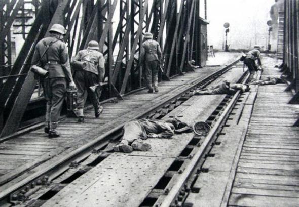 June 22, 1941. German troops crossing bridge near Przemysl, Poland