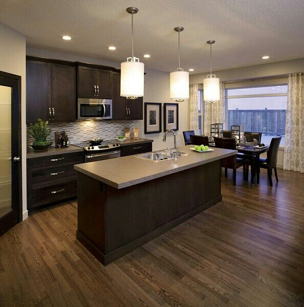 Dark Wooden Kitchen Floor: Pin By Ashley Chanelle On Kitchens And Dinning Rooms