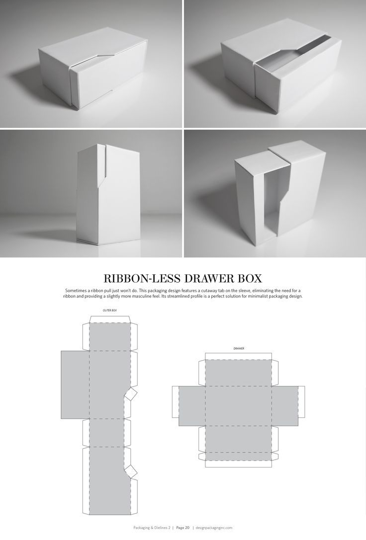 Ribbon-Less Drawer Box – structural packaging design dielines
