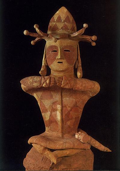 The Kofun period, 250-592 AD, Haniwa terracotta clay figure of man wearing a crown. Fukushima, Japan.