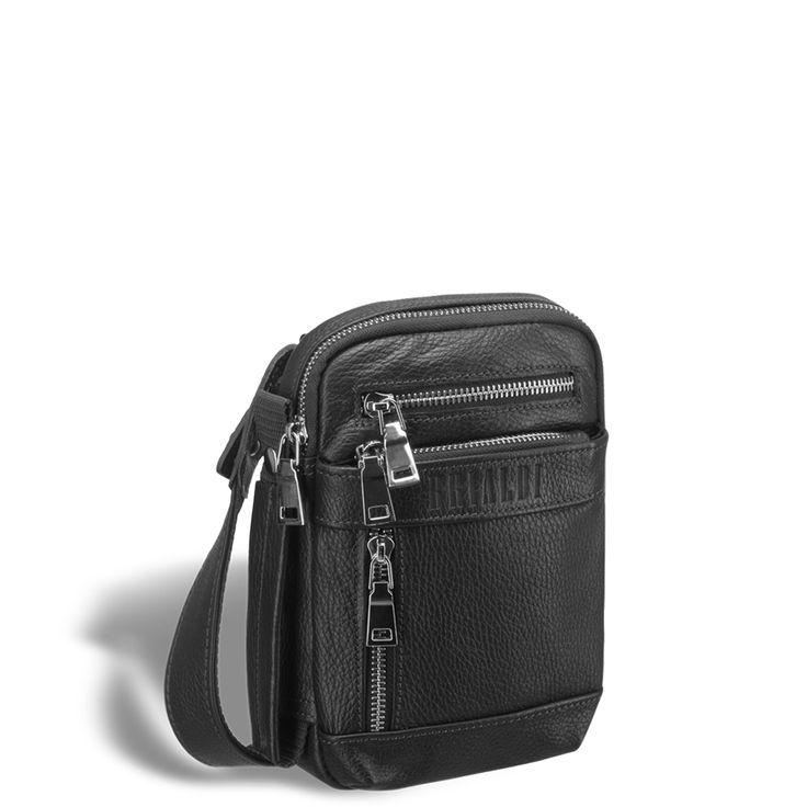 """Кожаная сумка через плечо mini-формата BRIALDI West (Вест) relief black      Очень интересная, современная модель. Дизайн неожиданный, конструкция удобная, впечатление незабываемое. Легкая, прочная ткань, которая обеспечивает сумке невесомость. В компактной """"малышке"""" разместились: три наружных кармана на лицевой панели, один карман на молнии на задней панели. Так же на задней панели разместился карабин для ключей. Г-образный широкий угол раскрытия основного отделения позволяет добраться до…"""