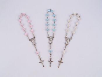 Pearl Bead Mini Rosary Baptism Favors
