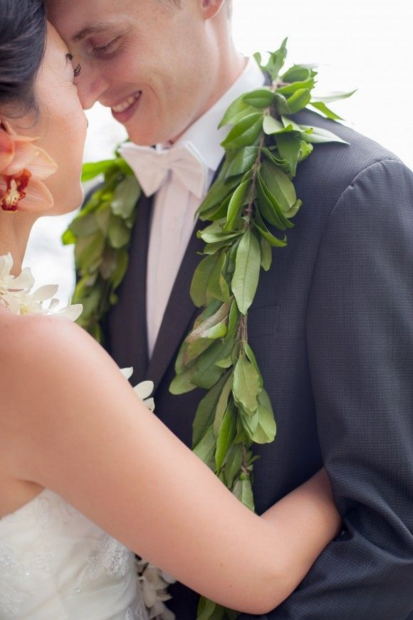 Traditional Floral lai and maile tai for the bride & groom in Maui