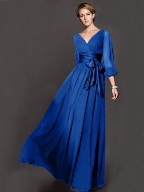 A-line/Princess V-neck 3/4 Sleeves Bowknot Floor-length Chiffon Dresses