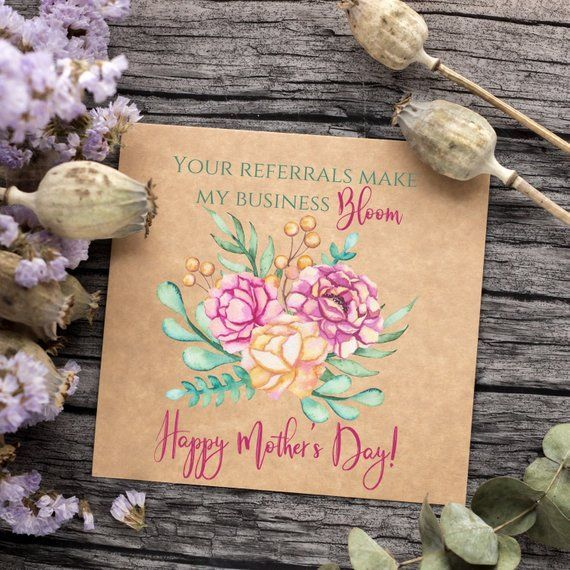Mother S Day Business Referrals Card Tag Real Estate Mortgage Insurance Clients Customers Mother S Day Printable Template Gift Label Corporate Gifts Referral Cards Gift Labels