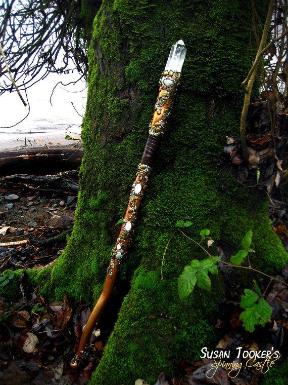 SOLD Magic Crystal Staff Rose Quartz Aventurine Oak Leaves Acorns Celtic Druid Walking Stick MISTRESS of The FOREST by Spinning Castle. $625.00, via Etsy.