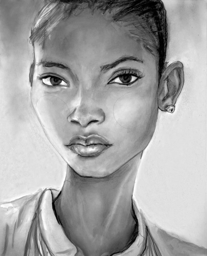 Artist Danny Roberts Black and white Portrait of wilhelmina new york model from Martinique and models dot com top new comer of spring 2011  Melodie Monrose