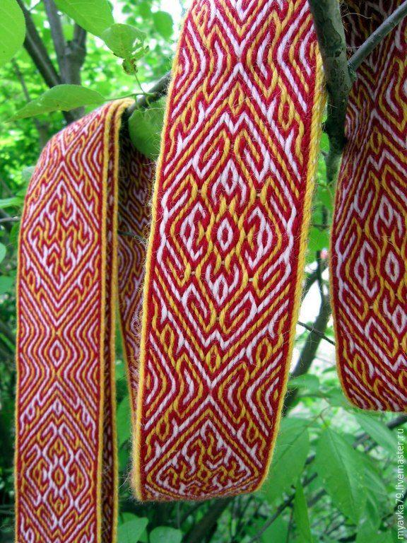 Купить Тканый на дощечках пояс Лето - Времена Года - ярко-красный, купала, пояс