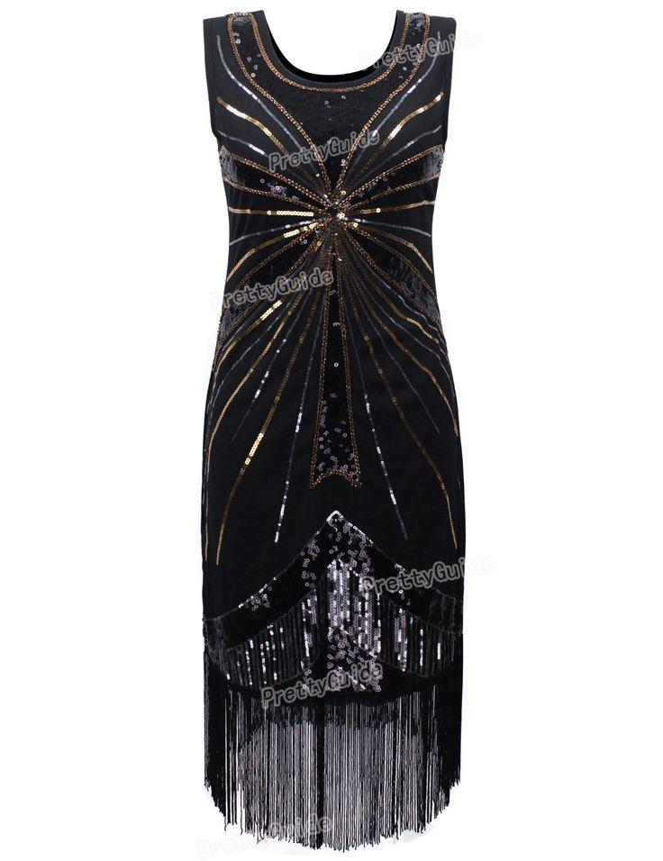 PrettyGuide Women 1920s Vintage Beads Sequin Fireworks Fringe Flapper Dress Cocktail Dress Roaring 20s Great Gatsby Dress