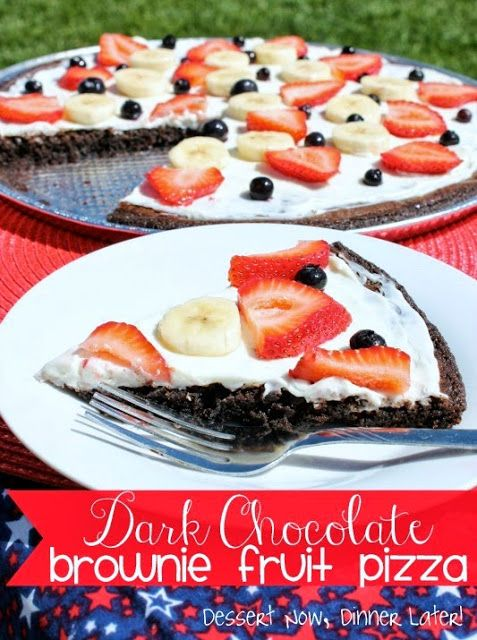 {Dessert Now, Dinner Later!} Dark Chocolate Brownie Fruit Pizza - moist dark chocolate brownie crust & a lightly sweet cream cheese frosting, topped with fresh fruit. #fruit #pizza #dessert