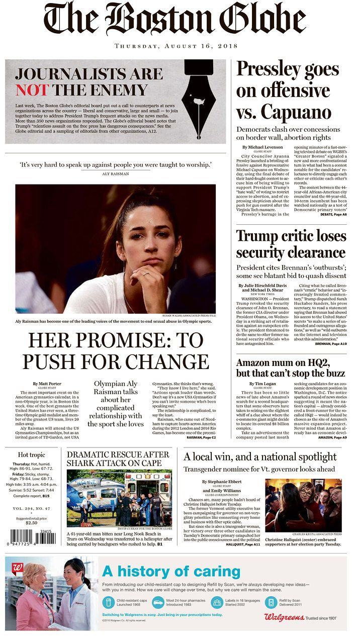 Boston Globe, along with hundreds of other U.S. papers pen Not the Enemy  letter.