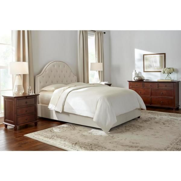 Home Decorators Collection Bradwick Ivory Upholstered King Bed With Tufted Back And Nailhead Detail 80 71 In W X 61 8 In H 2437bkri The Home Depot Queen Upholstered Bed King Upholstered Bed