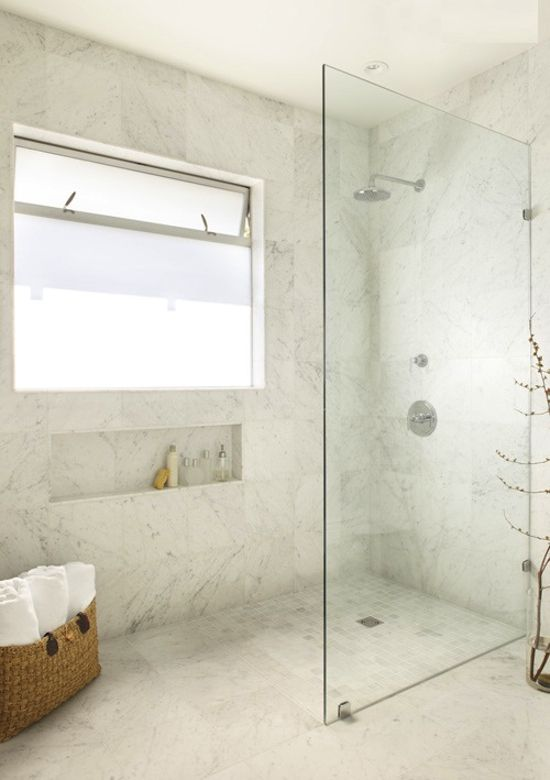 wet room/ grecian feel.add a bench, free floatong concrete vanity with wall faucets... Love it!