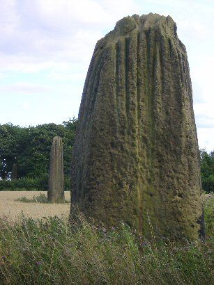 The Devil's Arrows, three enormous standing stones near Boroughbridge in Yorkshire. They form part of the wider Neolithic complex which includes the Thornborough Henges.