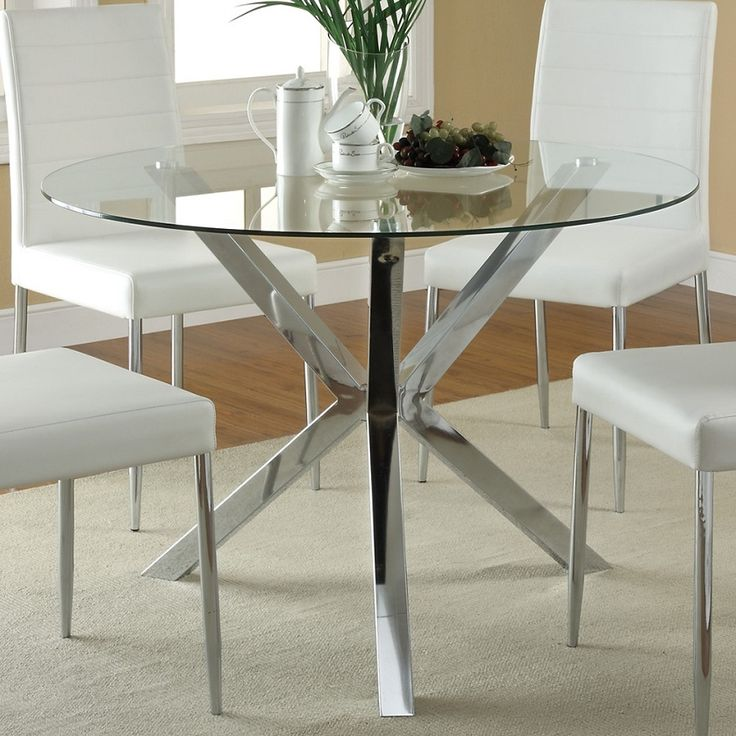 120760 Round Glass Top Dining Table-The clean lines and modern look of the Vance collection features a bold chrome leg base and tempered glass top. Matching black or white chairs feature metal base in a chrome finish. Includes table only**Vance Colle