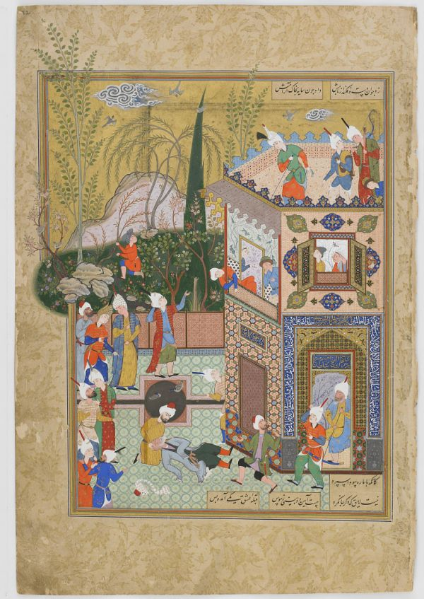 Folio from a Haft Awrang (Seven thrones) by Jami (d.1492); recto: the Fickle Old Lover is Knocked Off the Rooftop; verso: text  TYPE Manuscript folio MAKER(S) Author: Jami (died 1492) HISTORICAL PERIOD(S) Safavid period, 1556-1565 MEDIUM Opaque watercolor, ink and gold on paper DIMENSION(S) H x W: 34.2 x 23.2 cm (13 7/16 x 9 1/8 in) GEOGRAPHY Iran