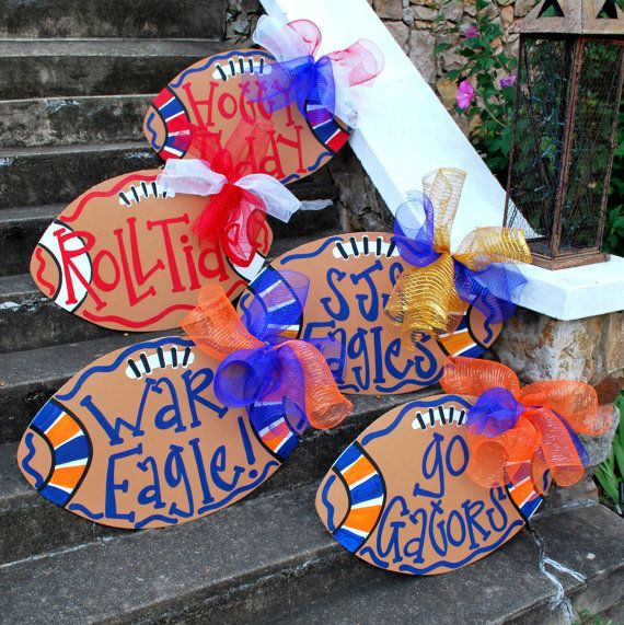 """FOOTBALL -- """"Hotty Toddy"""" - Football Door Hanger, Custom Football Door Hanger, Personalized Show your school spirit!! Any school! Any colors! Any personalization! Go Team"""