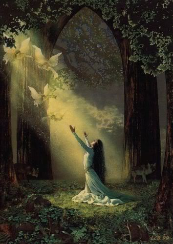 Luthien Tinuviel. As featured in J. R. R. Tolkien's The Silmarillion. Most fair, of angelic voice, brave, true, enchanting, she wrested the precious silmaril jewel from the crown and her lover from the clutch of the ultimate evil lord. Our Lady of Love Everlasting.
