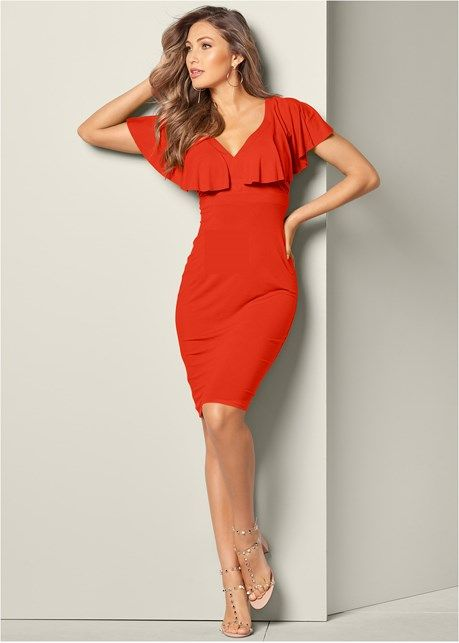 a925481e96c RUFFLE DETAIL DRESS