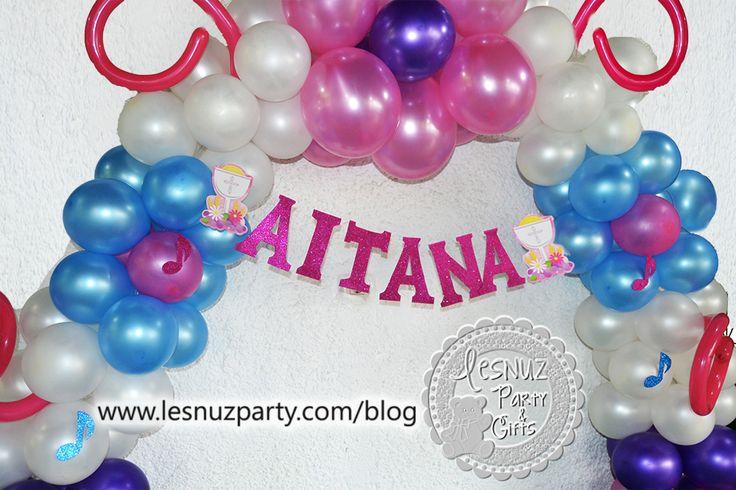 Arco globos comunión nombre - Balloon decoration