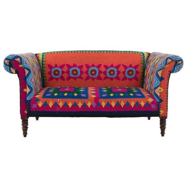 Mexican Embroidered Sofa ($2,200) ❤ liked on Polyvore featuring home, furniture, sofas, hand made furniture, fabric sofa, mexican furniture, upholstery sofa and handcrafted furniture