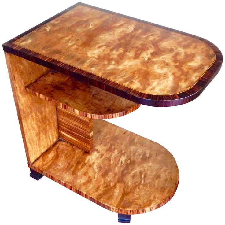Swedish Art Deco Side Table In Golden Flame Birch And Rosewood, Circa 1920