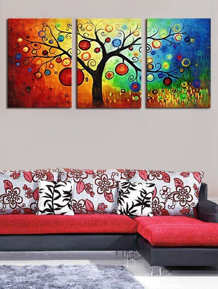 Wall Art Unframed Colorful Tree Printed Canvas Paintings Multicolor 3pc 16 24inch No Frame Cheap Canvas Wall Art Canvas Wall Art Set Canvas Wall Art
