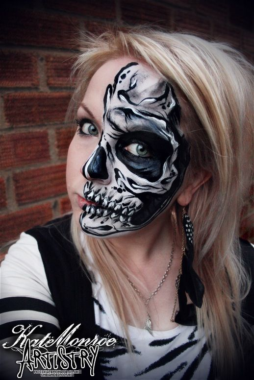 skull face paint body art - Halloween Skull Face Paint Ideas