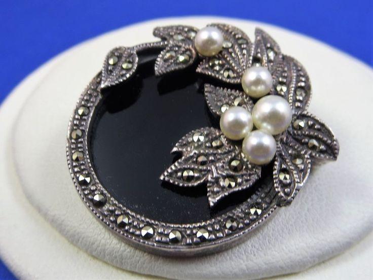 Vintage Silver Marcasite & Pearl Brooch Pin 12.6 Grams
