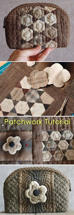 How to sew a cosmetics bag in the technique Japanese Patchwork. DIY tutorial with pictures. Косметичка Японский Пэчворк http://www.handmadiya.com/2015/09/cosmetic-bag-japanese-patchwork-tutorial.html
