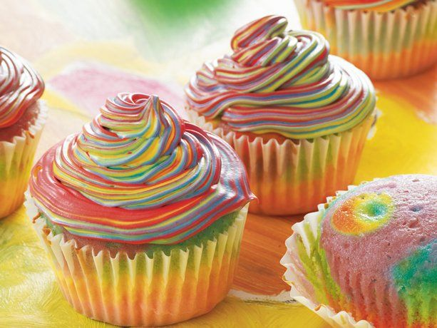 """Tie-Dye"" Cupcakes: Fun Recipes, Idea, Sweet, Food, Tie Dye Cupcakes, Ties, Rainbow Cupcakes, Dyes, Dessert"