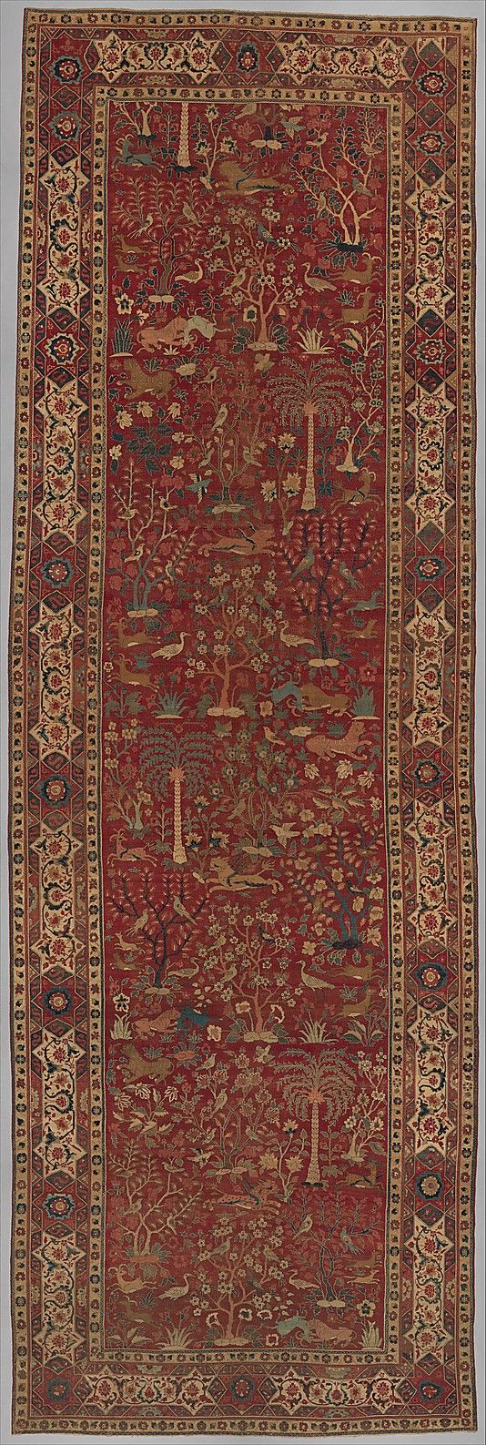 Carpet with Palm Trees, Ibexes, and Birds  Object Name:     Carpet Date:     late 16th–early 17th century Geography:     present-day Pakistan, Lahore