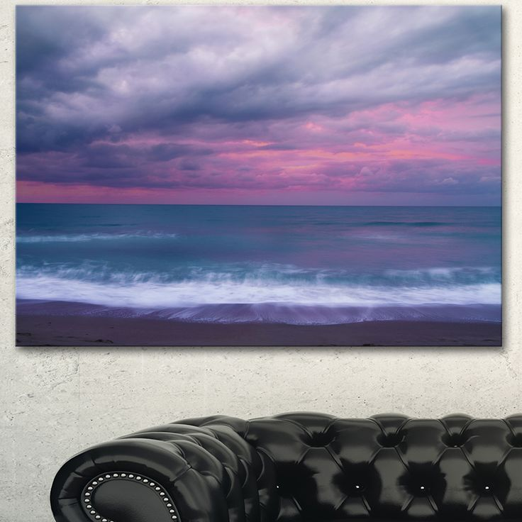 Designart 'Blue and Pink Unset over Sea' Modern Seashore Canvas Wall Art Print