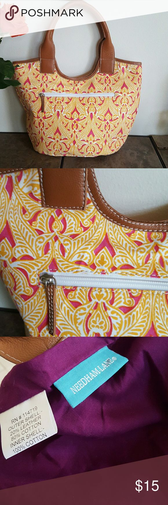 Needham Lane Market Tote Cotton canvas in a sunny summery orange and yellow with leather trim. Bags Totes