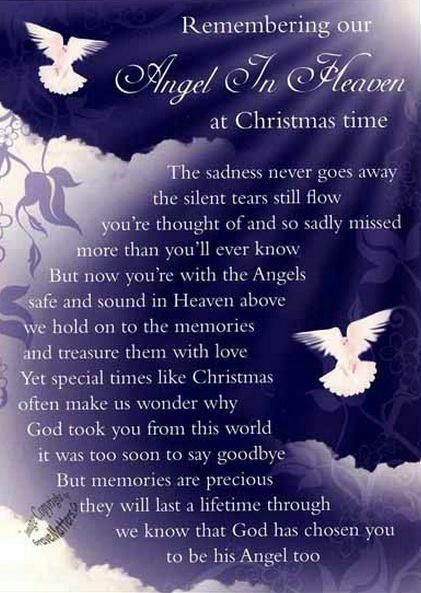 christmas in heaven quotes | life inspiration quotes: An angel in heaven at Christmas quote