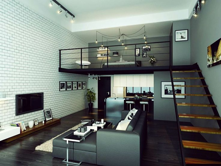 Industrial Interior Living Room Dining Area Kitchen Master Bedroom Study Design Home