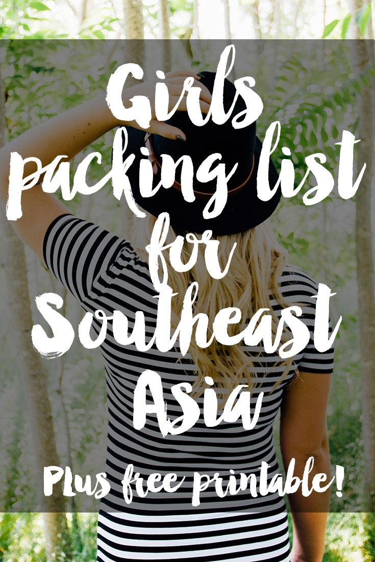 A complete packing list of all the clothes a girl needs for a backpacking trip to Southeast Asia! With free downloadable checklist! #travel