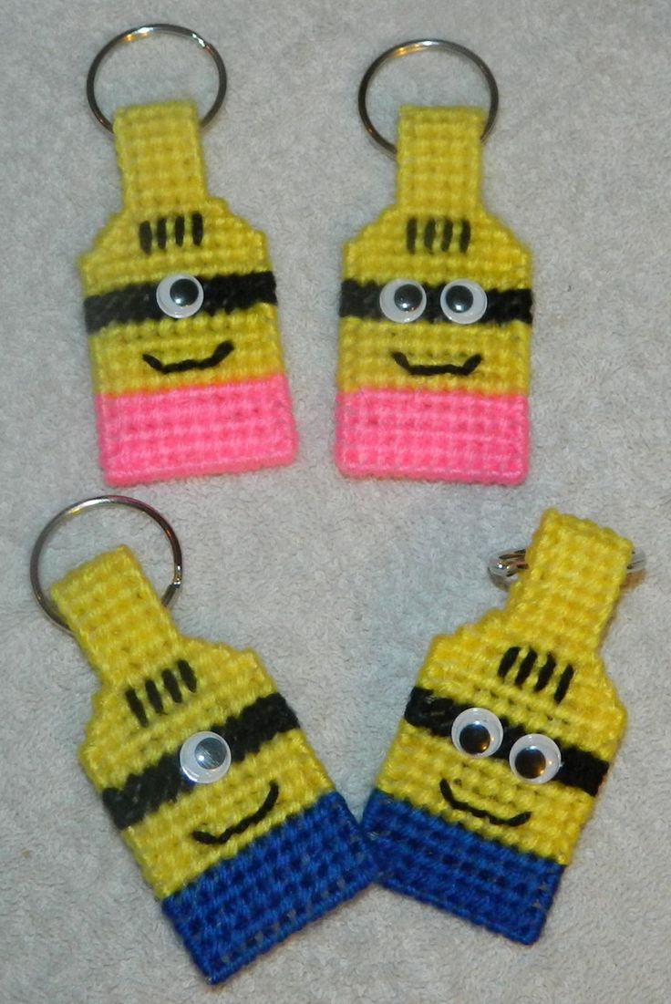 Minions Inspired Key Chains / Zipper pulls / Pink Minions / Blue Minions/ Plastic Canvas by BeachinBoutique on Etsy https://www.etsy.com/listing/245326404/minions-inspired-key-chains-zipper-pulls
