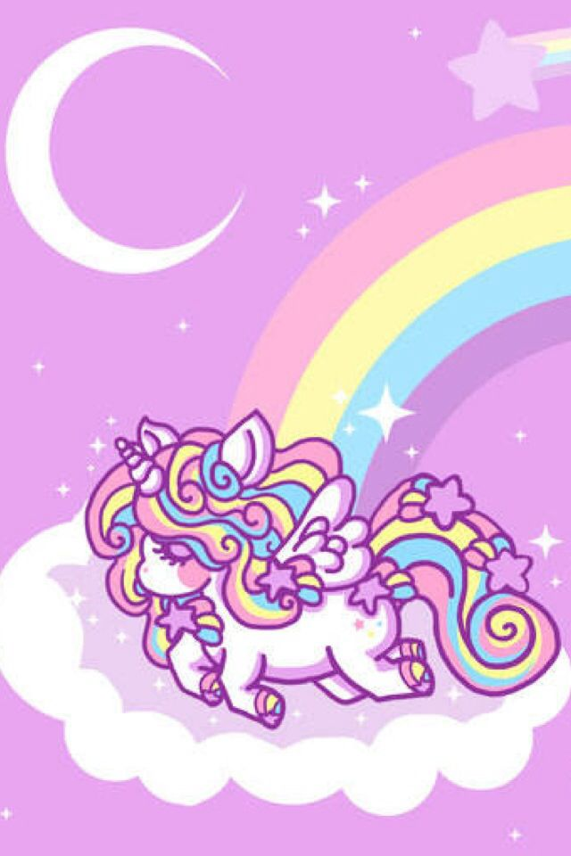 Pink unicorn on a cloud in front of a rainbow