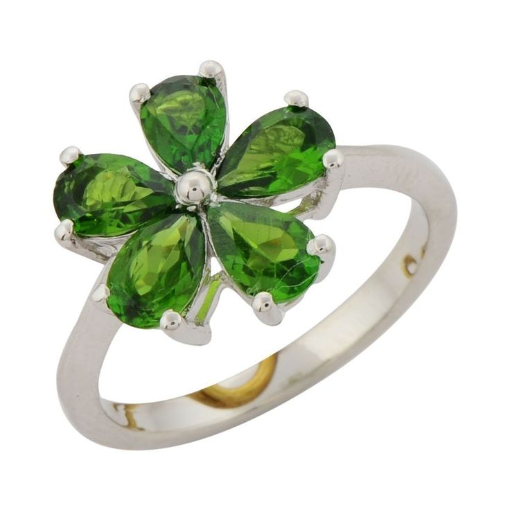 GREEN CHROME DIOPSIDE GENUINE GEMSTONE RING IN 925 STERLING SILVER JEWELRY