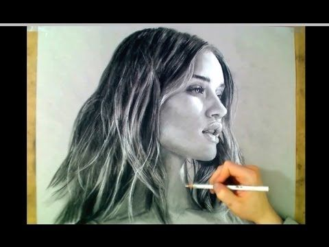 ▶ Gorgeous Transformers Girl Art - Rosie Huntington - Toned paper in charcoal - YouTube - Charcoal pencil drawing on toned grey paper