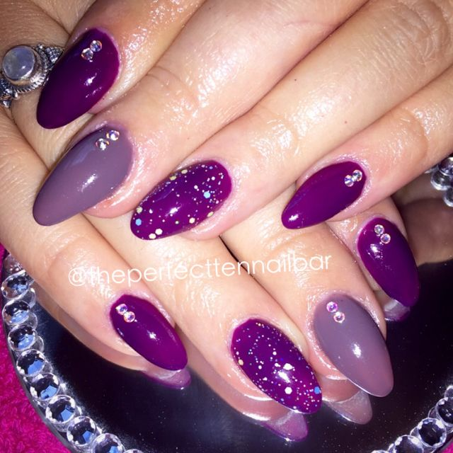 Crystal Gel Nail Video: Purple, Swarovski Crystal, Acrylic Nails, Gel Polish