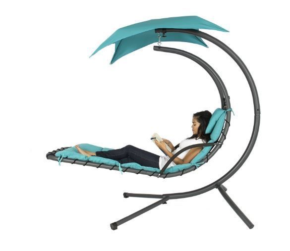 Patio Chaise Lounge Hanging Chair Hammock Swing Outdoor Patio Canopy Arc Stand…
