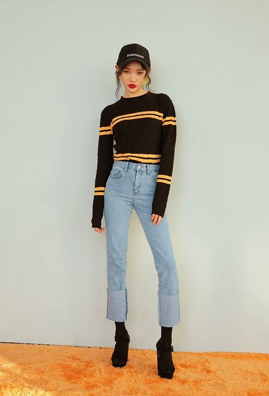 korean fashion casual street black striped yellow denim jeans