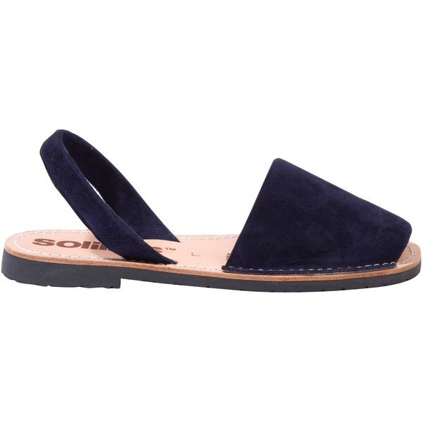 Solillas Original Two Part Sandals, Navy ($64) ❤ liked on Polyvore featuring shoes, sandals, navy leather sandals, strap sandals, strappy flat sandals, beach sandals and leather sandals