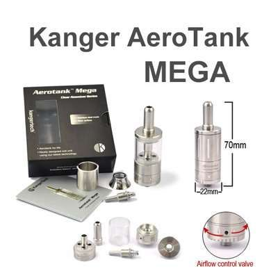 Kanger Aerotank Mega Glassomizer  The Kanger Aerotank Mega Glassomizer offers the same great features and performance as the Kanger Aerotank Mega Glassomizer but with a redesigned airflow valve. Turn the dial on the base to increase or decrease airflow to your preference.