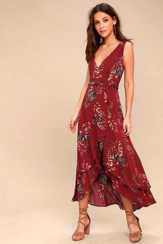 63c4eb98f828 Amal Burgundy Floral Print Wrap Maxi Dress | My Style | Maxi wrap ...