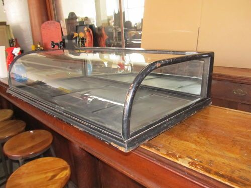 Antique Curved Glass Counter Top General Store Display