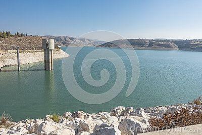 Kalavasos reservoir and water  dam & x28;Cyprus, Larnaca region& x29…